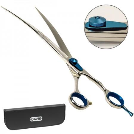 Davis Extreme Edge Blue Профессиональные изогнутые ножницы для стрижки собак и кошек 25 см