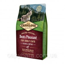 Carnilove (Карнилав) Cat Duck & Pheasant Hairball Control Корм для кошек с уткой и фазаном 2 кг