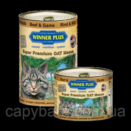 Winner Plus (Виннер Плюс) консервы для кошек с говядиной и олениной 395 г